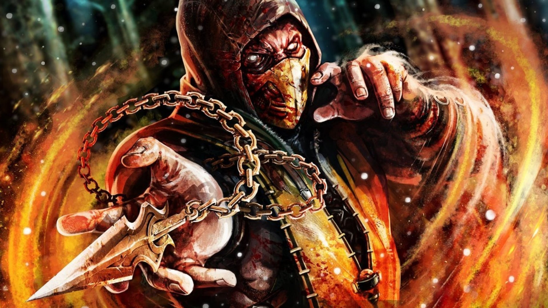 scorpion mortal kombat x 2015 game fire wallpaper trecobox