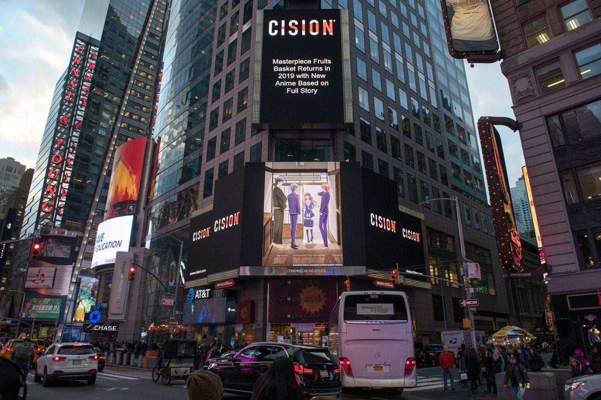 Novo visual de Fruits Basket aparece na Times Square em New York