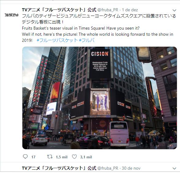 Novo visual de Fruits Basket aparece na Times Square em Nova York