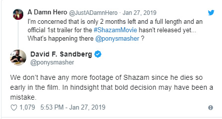 Shazam! | Diretor trolla fãs com teaser inusitado em que Billy Batson morre